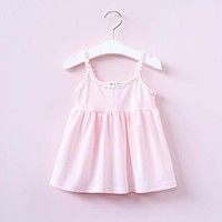 Baby Girls Sleeveless Shirt Clothes Children Lace Princess Shirt Clothing Kids Neckline Pleated Flounces Shirt Clothes
