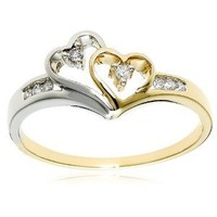 14k Two-Tone Diamond Heart Ring (1/10 cttw,), Size 7