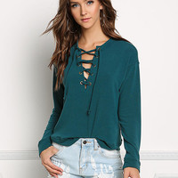 Teal Pullover Lace Up Sweater Top