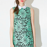 Green Lace Lapel Sleeveless Dress