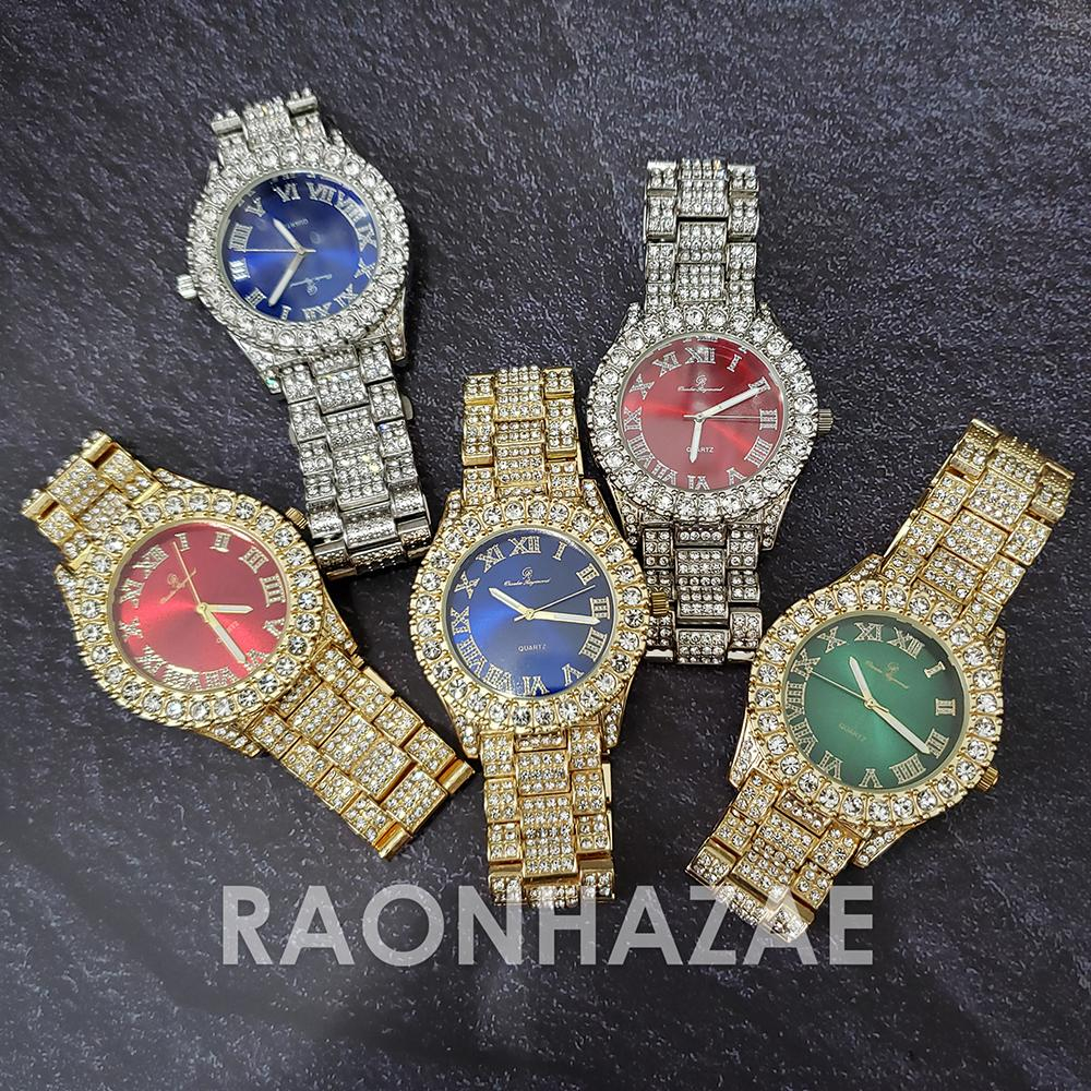 Image of Raonhazae Silver Hip Hop Iced Lab Diamond Meek Mill Drake Blue / Red / Green Face 14K Gold Plated Watch with 12mm Cuban Link Bracelet Set