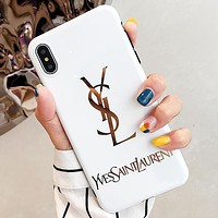 YSL New fashion letter print protective case phone case White