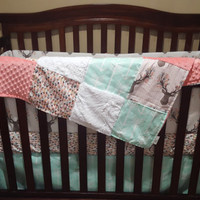 Baby Girl Crib Bedding - Tulip Fawn, Feathers, Mint Arrow, and Coral Crib Bedding Ensemble with Blanket or Patchwork Blanket