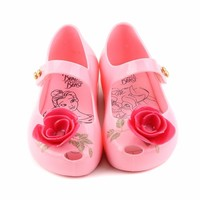 Melissa Kids Sandals Rose with Green Printed 2018 For Girl Shoes New Beauty Beast Princess Rain Shoe Girls Jelly Sandals
