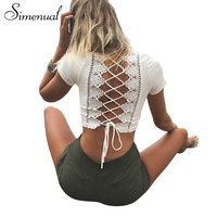 Simenual Lace up back sexy t-shirts for women crisscross fashion t shirt summer crop top hollow out hot female t-shirt tops tees