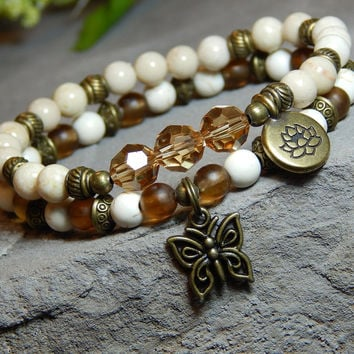 Butterfly Boho Bracelet with Lotus Flower Charm