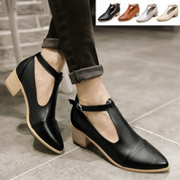Summer Retro Vintage Leather T Strap Mary Janes Oxfords Court Casual Shoes Women Medium Hells Pointed Toe College Pumps Sandals