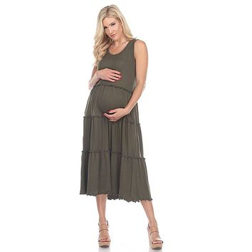 Maternity Plus Size Scoop Neck Tiered Midi Dress Olive Green