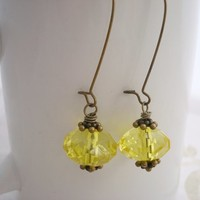 Yellow Earrings,Antique Brass,Sunny Yellow Jewelry