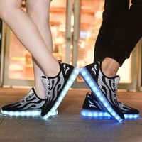 New Style Lovers Flame LED Luminous Sneakers Men Outdoor Breathable Flats Boys Flash USB Charging Sport Running Shoes Size 35-44