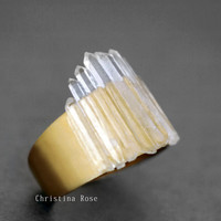 THE ICE QUEEN  - Raw White Crystal Points Bright Yellow Gold Or Vintage Copper Ring 7- 8 ooak