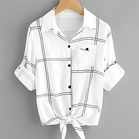 Roll Tab Sleeve Knot Front Grid Shirt Top Tee