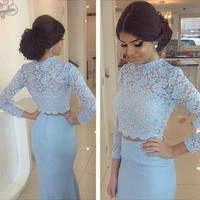 Elegant Prom Dress,O Neckline Evening Dress,Long Sleeves Mermaid Two Pieces Dress