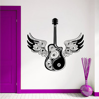 Wall Decal Music Electric Guitar With Wings Musical Instrument Murals Wall Decals Playroom Bedroom Window Stickers Interior Home Decor 3955