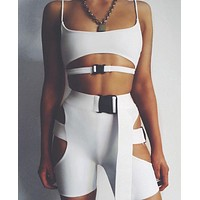 2020 women's sexy hollow school bag buckle solid color vest tight bottoming shorts suit two-piece