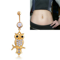 New Charming Dangle Crystal Navel Belly Ring Bling Barbell Button Ring Piercing Body Jewelry = 4651258308