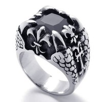 KONOV Jewelry Dragon Claw Stainless Steel Band Mens Ring, Silver Black