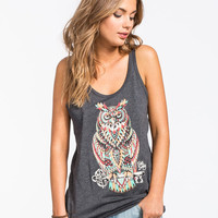 Riot Society Ornate Owl Womens Tank Charcoal  In Sizes