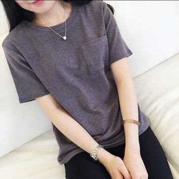 Pocket Solid Color Round Neck Short Sleeve T-Shirt