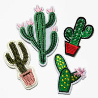 Iron On Patch ( Set of 4 ) - Cactus Set of Patches Iron On - Succulent Patch - Embroidered Patches - Applique Flowers Iron on Patches Cactus