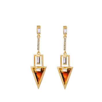 Triangle Linear Earrings in Tortoise