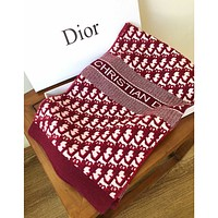DIOR New Product Knitted Letters Couple Style Warm Scarf Shawl