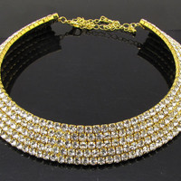 5-Row Bridal Wedding Diamante Rhinestone Crystal Choker Necklace for Women