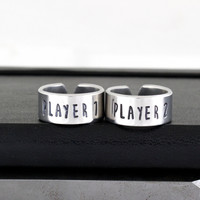 Player 1 & Player 2 Ring Set - Gamer Gift - Best Friends - Adjustable Aluminum Rings - Style B