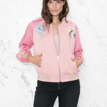 & Other Stories | Embroidery Bomber Jacket | Pink