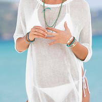 Cool Breeze White Sand Swimsuit Cover Up. Light Sheer Top