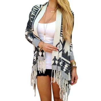 Women's Long Sleeve Geometry Printed Tassels Knitted Cardigan Loose Sweater