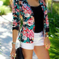 Fashion Hot Popular 2016 Trending Fashion Women Floral Printed Floral Printed Business Casual Suit Outerwear Jacket _ 7640