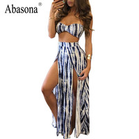 Spring Summer 2017 Gradient striped print sexy party bodycon dress slit sides two pieces outfits vestidos mujer beach Maxi dress