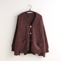 Cardigan Batwing Sleeve Loose Solid Color Knit Sweater