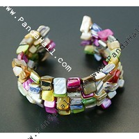 Wholesale Bracelets, With Shell Beads, Steel Bracelet Memory Wire And Spacer Bars, Colorful, Size: Bracelets: About 55mm Inner Diameter
