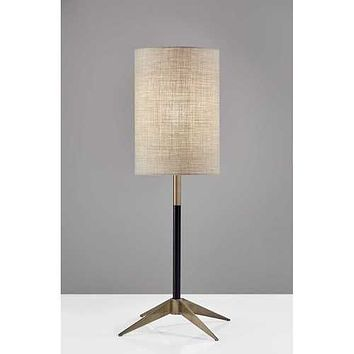 Antique Brass Metal Tripod Base with Matte Black Accent and Tall Natural Fabric Shade Table Lamp