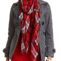 Double-Breasted Fleece Pea Coat by Charlotte Russe - Black Combo