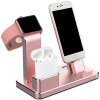 4 in 1 Apple Watch Charger Dock Aluminum Apple Watch Stand Apple Stand AirPods Stand Charging Docks Holder for Apple Watch Series 3/2/1/ AirPods/ iPhone X/8/8Plus/7/7 Plus /6S /6S Plus/ iPad Rose Gold