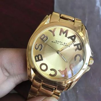 MICHAEL KORS Fashion new dial letter women and men watch Golden