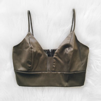 Satin V Neck Top (Olive)