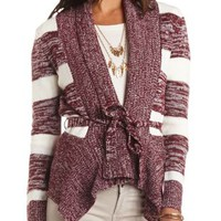 Marled Cascade Cardigan with Belt by Charlotte Russe - Burgundy Cmb