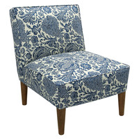 Finnegan Armless Chair, Blue/White, Accent & Occasional Chairs