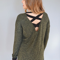 Olive Cross Back Sweater Top