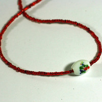Lampwork Bead Focal Necklace - Red Seed Bead Necklace - Handmade by me