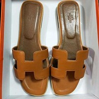 Hermes Women Leather Fashion Slipper Flats Shoes-1