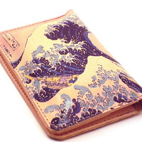 Passport Cover Leather - Great Wave Off Kanagawa