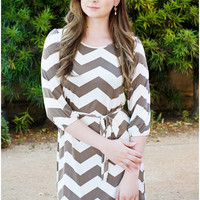 Back to Basics Chevron Shift Dress - Mocha & Cream