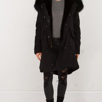 Furry Coat in Olive Black and Black Black