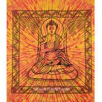 Orange Buddha Canvas Hippie Bohemian Cotton Tie Dye Tapestry Wall Hanging on RoyalFurnish.com