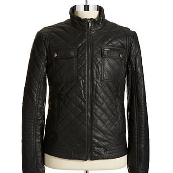 Guess Faux Leather Quilted Bomber Jacket
